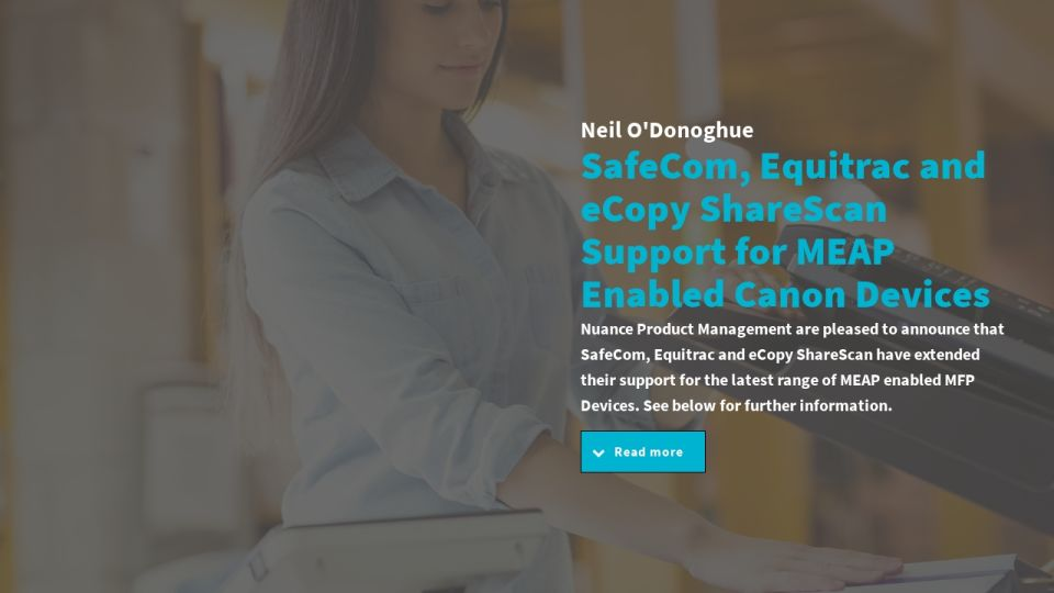 SafeCom, Equitrac and eCopy ShareScan Support for MEAP Enabled Canon