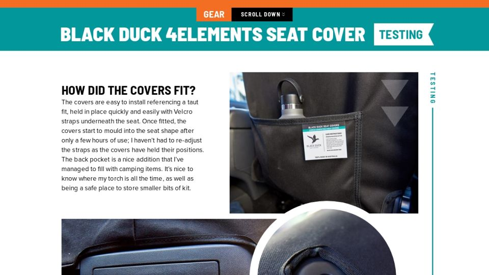 Black Duck 4elements Seat Cover Review Testing
